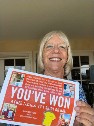 Rita with her winning ticket