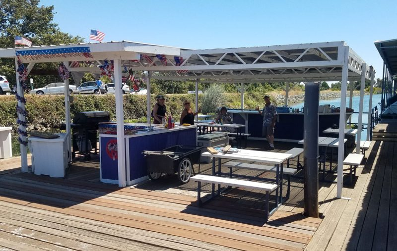 Marina landing decorated for Fourth of July