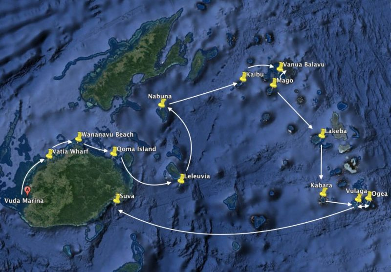 Map of route in Fiji