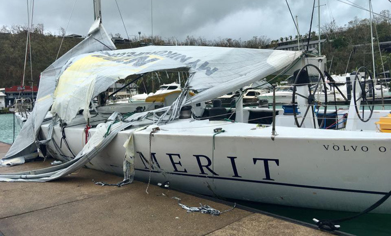 cCyclone-damaged boat in Australia