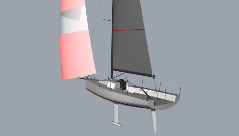 Rendering with spinnaker of the Moore 33