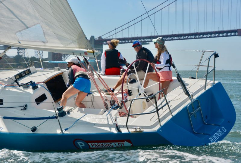 Blue J/105 with Golden Gate Bridge in the background