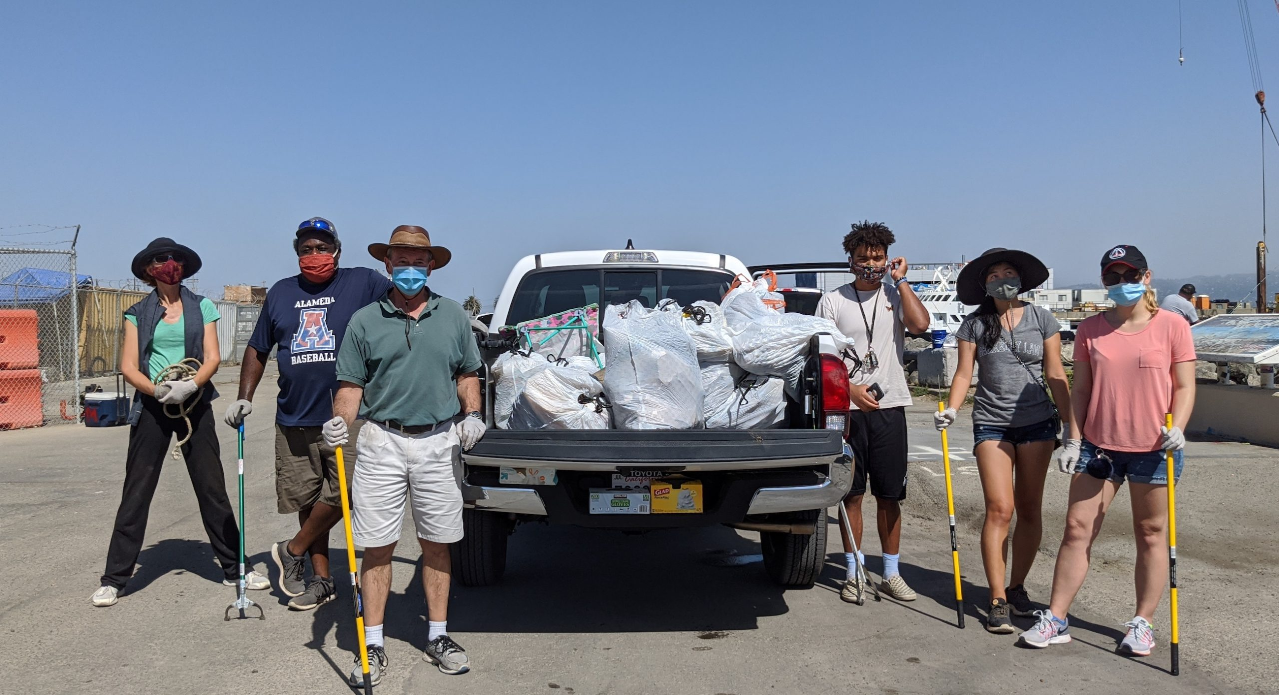 SFSSC Volunteers with trash filled pick-up truck.