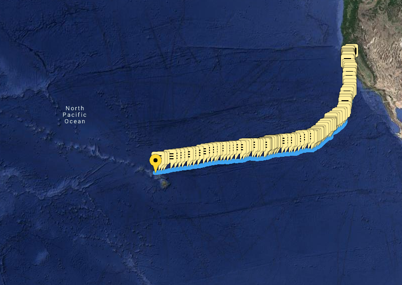 Lia Ditton approaches Hawaii. Map track across the Pacific
