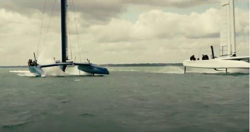 Two foiling catamarans
