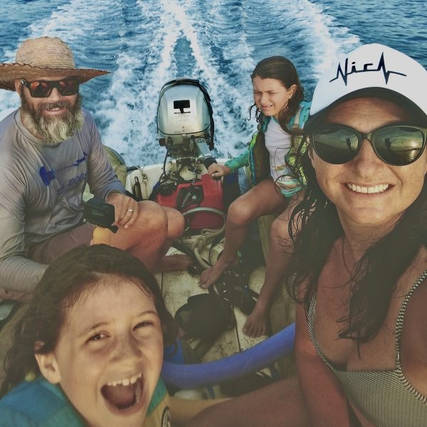 Fennell family in Dinghy