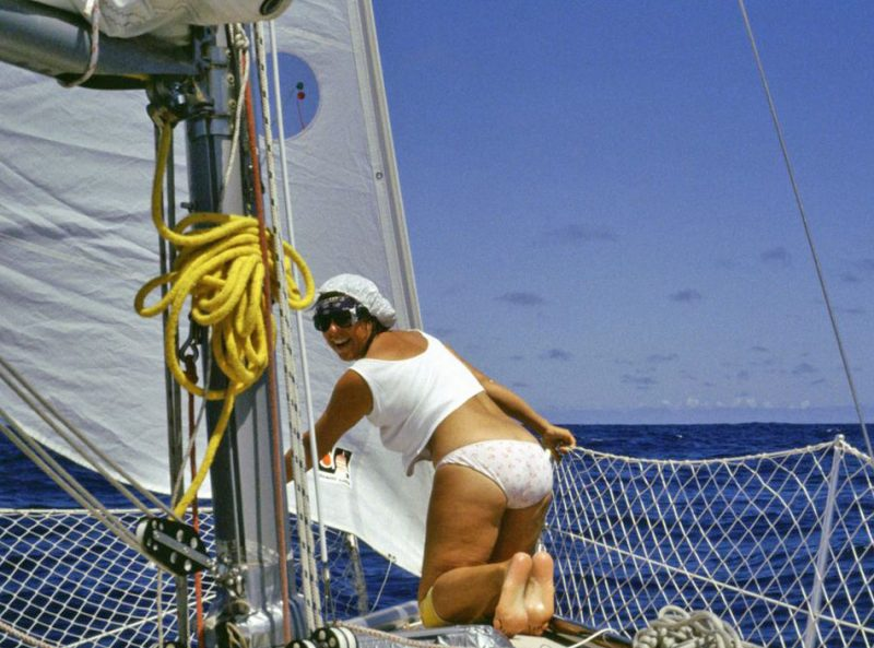Linda in her underwear on the bow