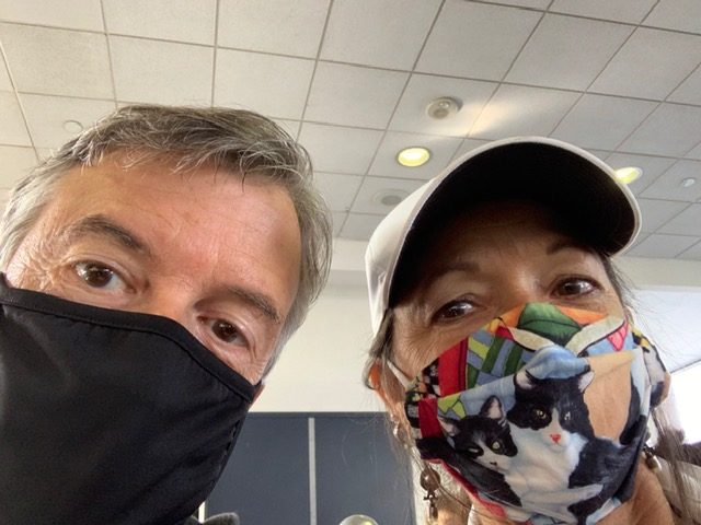 Rich and Laura wearing masks
