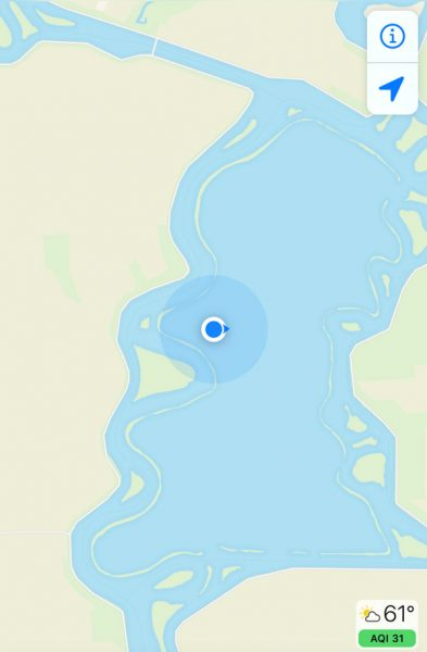 mobile phone app map of Mildred Island