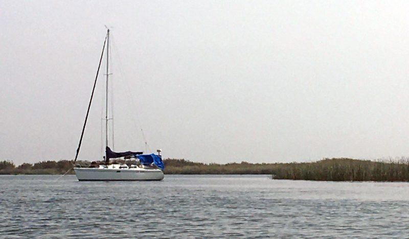 La Vida at anchor in the Delta