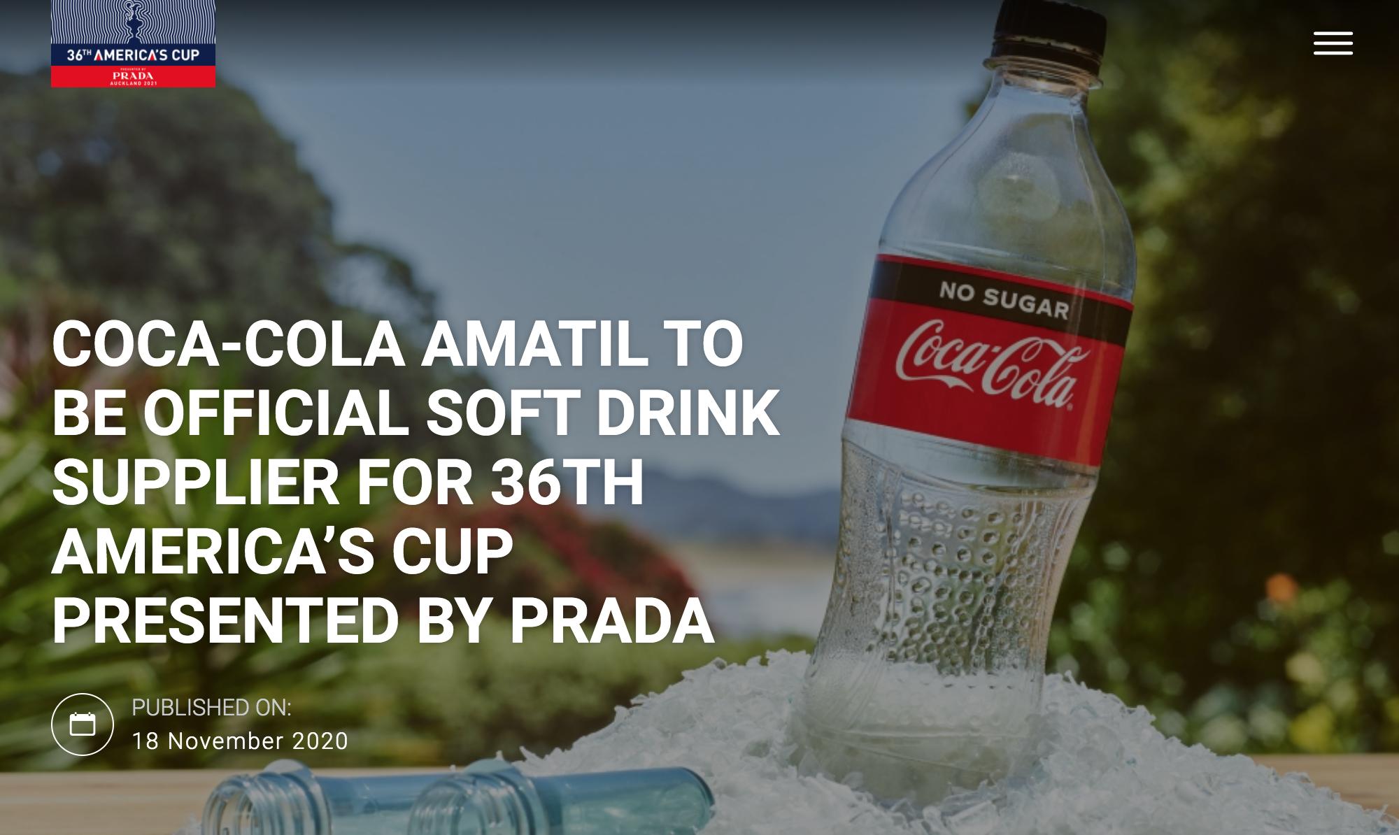 America's Cup News - Coca Cola Official Sponsor