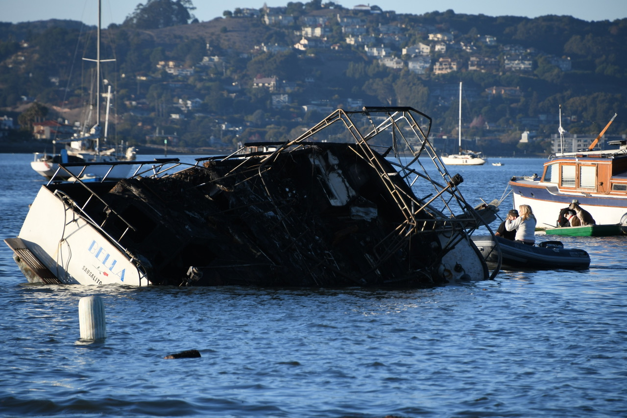 Burned out hull on Richardson Ba