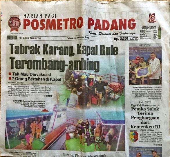 Indonesian newspaper headlines Shipwrecked