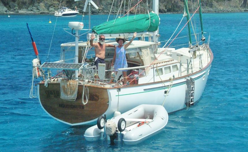 Rob and Mary aboard Maude I Jones