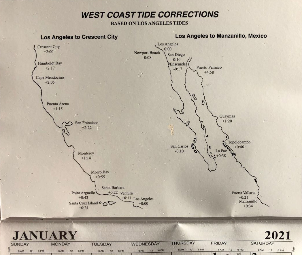 West Coast Tide corrections