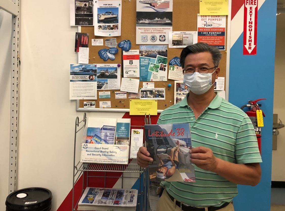 At the magazine rack