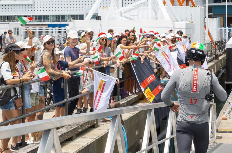 Prada fans wave to Jimmy Spithill