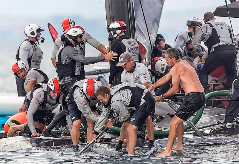 Crew works on boat