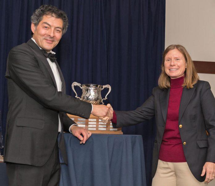 James Kiriakis and Nicole Breault with trophy