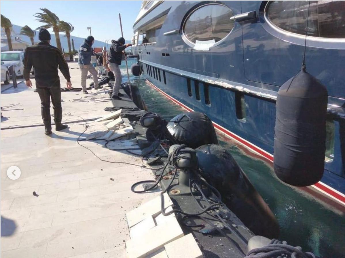 Broken dock alongside Black Pearl