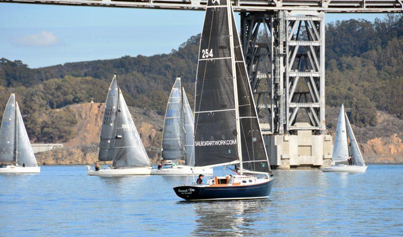 boats becalmed at the Bay Bridge