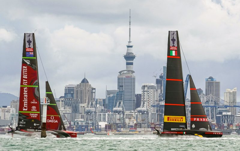 Racing along the Auckland cityfront