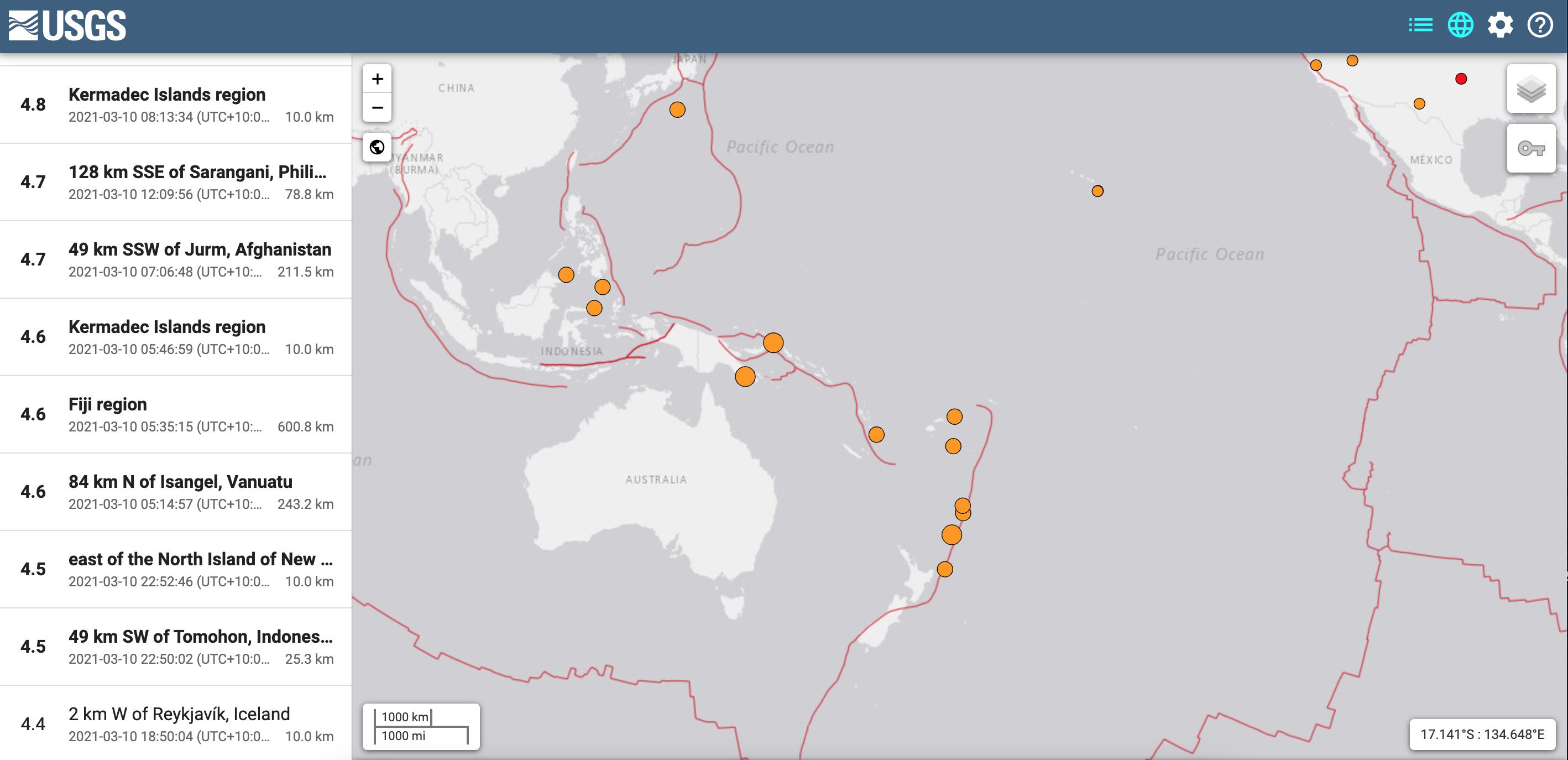 Earthquakes on map