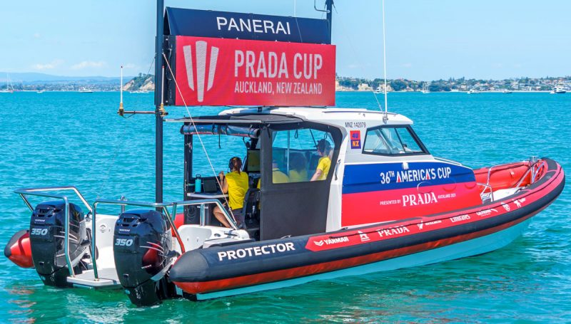 race committee signal boat for Prada Cup