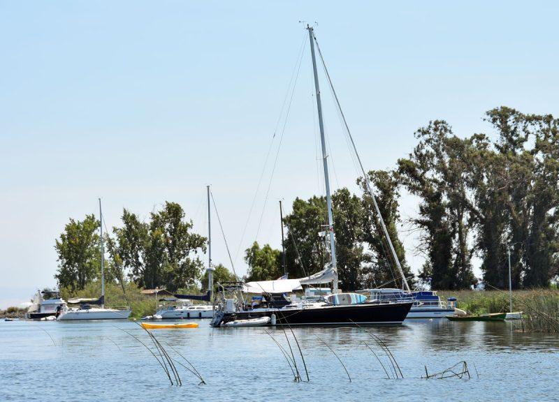 Anchored boats