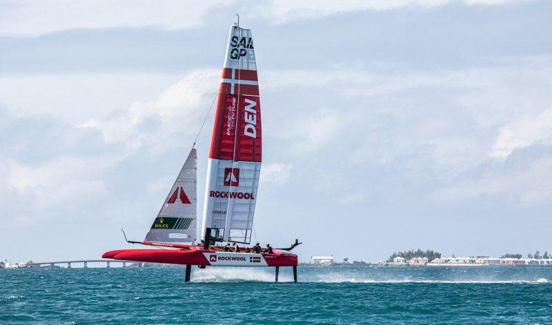 Danish SailGP team foiling in Bermuda