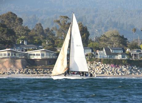 Santana 35 next to Santa Cruz shore