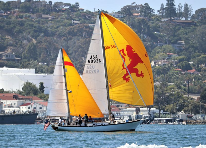 Spitfire with spinnaker and colorful mizzen