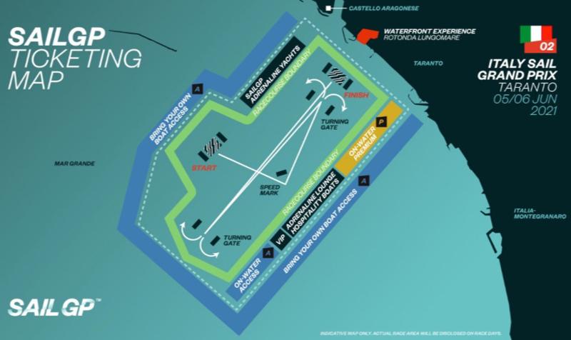 Map graphic of Taranto racing area