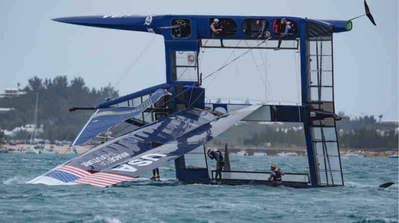 US SailGP F50 cat capsized
