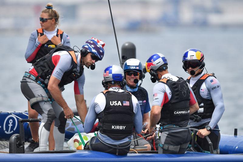 Crew aboard Team USA F50