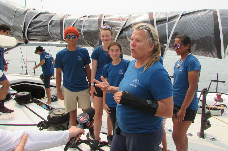 Dawn Riley with kids from Oakcliff Sailing