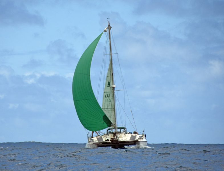 Rainbow with green spinnaker