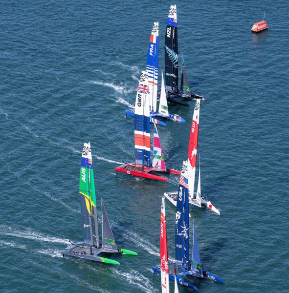SailGP start with all boats