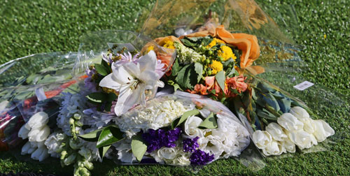 Flower bouquets on the lawn
