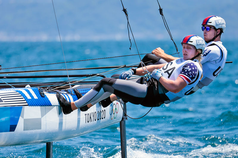 Anna Weis and Riley Gibbs trapped out on a Nacra 17
