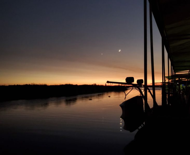 Sunset with Venus and the moon