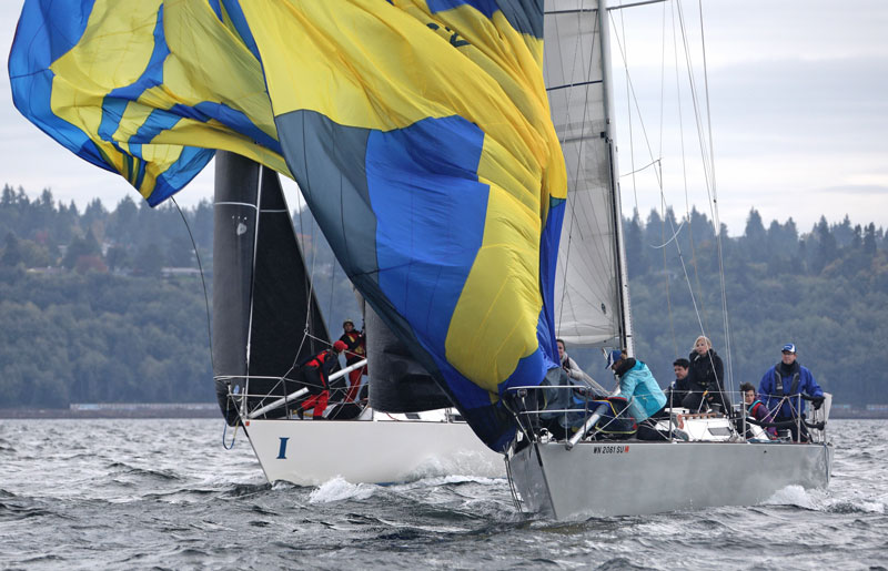 blue and yellow spinnaker douse